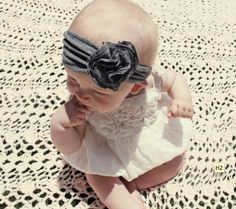 DIY Jersey Baby Headband - Make this, but without the giant flower...maybe a smaller flower or no flower.