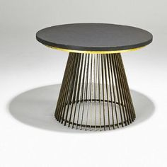 Paul Evans; Gilt Iron, Wood, and Cleft Slate Occasional Table, 1960s.