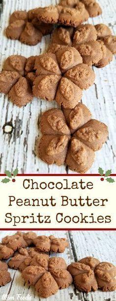 Chocolate Peanut Butter Spritz Cookies Recipe - New ideas Peanut Butter Spritz Cookie Recipe, Butter Spritz Cookies, Chocolate Peanut Butter Cookies, Chocolate Cookie Recipes, Peanut Butter Cookie Recipe, Cookie Desserts, Cookie Tray, Cookies Cupcake, Cupcakes