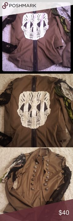 Diy steampunk military skull jacket Diy steampunk military skull jacket. Fishnet on sleeves, and lace. Sugar skull crochet on back all hand sewn. Runs like a med.  One of a kind. Gothic  Hot topic  Gpth Steampunk Pirates  Halloween Hot Topic Jackets & Coats Blazers