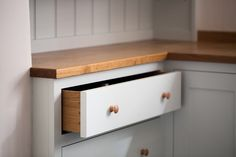 Birch plywood cabinets with hand painted hardwood frames (Farrow and Ball Estate Eggshell, Pale Powder). Kitchen Larder Cupboard, Larder Unit, Plywood Cabinets, Painting Oak Cabinets, Shaker Style Kitchens, Shaker Kitchen, Kitchen Maker, Oak Worktops, Oak Wardrobe