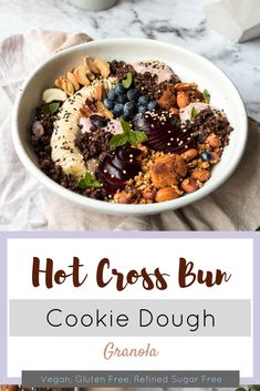 Eat cookies IN your hot cross bun-flavoured granola. Olive Recipes, Yummy Cookies, Granola, Cookie Dough, Acai Bowl, Sugar Free, Olive Green, Gluten Free, Vegan