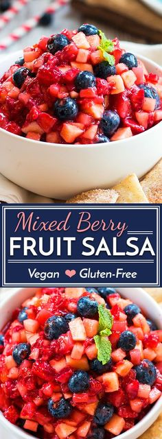 This mixed berry fruit salsa with homemade sopapilla chips is a fresh, healthy, and super easy July 4th or summer dessert recipe.
