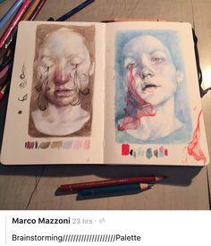 A Level Art portraiture development inspired by Annemarie Busschers - Emily Fielding, Kennet School Art Sketches, Art Drawings, Watercolour Drawings, Watercolor Sketch, Pencil Drawings, Art Et Design, Arte Sketchbook, A Level Sketchbook, Sketchbook Pages