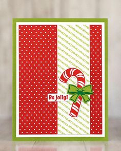 """CARD Super fun and bright """"Be Jolly"""" card from the Stampin' Up! Candy Cane Season bundle (stamp set and Candy Cane Builder Punch)."""" background is stamped to make a continuous strip. Julie just eyeballed it and it was easy to line up. Christmas Cards 2018, Christmas Greetings, Holiday Cards, Christmas Cup, Christmas Candy, Christmas Stuff, Mom Cards, Cards Diy, Make Your Own Card"""