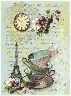 Ricepaper/Decoupage paper,Scrapbooking Sheets /Craft Paper Tea in Paris