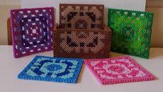 Perler bead crochet coaster set with holder.
