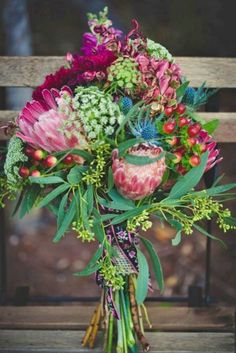 Bridal bouquet with protea, queen anne's lace, coffee bean, and seeded eucalyptu. Bridal bouquet w Small Wedding Bouquets, Rustic Bridal Bouquets, Bridal Flowers, Floral Bouquets, Floral Flowers, Plum Wedding Flowers, Small Weddings, Bouquet Bride, Protea Bouquet