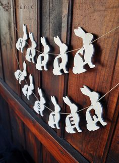 Great to use with MagScapes magnetic wallpaper. Easter Rabbit Garland wooden Banner vintage style finish on Etsy, $22.00
