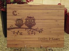 Personalized Cutting Board, Bamboo Cutting Board, Lasered Engraved, Wedding Present, Bridal Shower Gift, Christmas Gift, Owls, Whimsical on Etsy, $29.95
