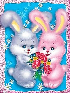 BOY-GIRL BUNNIES SHARING A BOUQUET OF FLOWERS Easter Bunny Pictures, Bunny Images, Daddy Tattoos, Bunny Tattoos, Easter Prayers, Good Morning Images Hd, Photo Frame Design, Easter Wallpaper, Just Magic