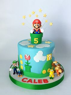 New Birthday Cake Fondant Boy Super Mario 24 Ideas Mario Birthday Cake, 6th Birthday Cakes, Super Mario Birthday, Super Mario Party, Super Mario Bros, Mario Bros Cake, Luigi Cake, Bolo Do Mario, Bolo Super Mario