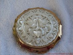 Stratton Powder Compact Mother of Pearl Doves Heart Made in England | eBay