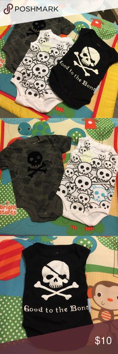 Baby boy skull bundle  So cute!!!! Grey and white onesies are like new and black onesie is in good condition with no fading (see last pick for cracking letters when stretched) Koala and Silly Souls brand. Matching Sets