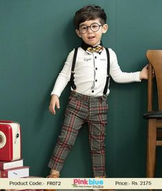 Baby Boy Formal Clothing 2015 - Boys Gentleman Set, Bow Tie Suspenders Plaid, Children Outfits, Kids New Fashion, Checked Pants for 1st Birthday, Party Wear & Weddings Size - 2, 3, 4, 5, 6, Or 7 Years