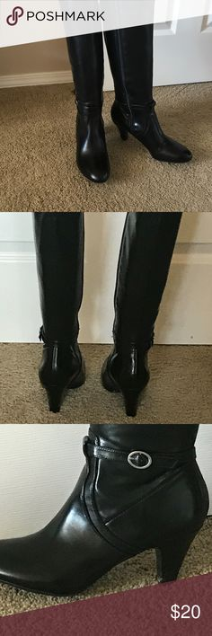 "Naturalizer Black Dress Boots Naturalizer Black dress boots.  18"" from tip of heel to top.  Zipper side, fitted to calf. 2.5"" heel.  In excellent condition.  Rarely worn.  Synthetic material. Naturalizer Shoes Heeled Boots"