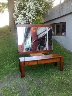 ReTro ToM Tom's Furniture World TOMANIA Retro Furniture, Furniture Design, Mirror Unit, Vintage Writing Desk, Norway Design, Hall Mirrors, Small Bars, Vintage Office, Cabinet Design