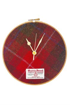 This clock makes a perfect wedding present or housewarming gift, equally at home on the wall or perched on a mantle or shelf. It comes in a bespoke gift box, making it really easy to give as a gift. The Original Harris Tweed Hoop Clock. Handwoven Red Check (Plaid) Harris Tweed. Handmade in Scotland.    Size: approx. 21cm x 21cm; Standard Battery: 1 x AA (not included)   Harris Tweed Clock by Juniper & Jane. Home & Gifts - Home Decor - Decorative Objects Aberdeen, North East Scotland…