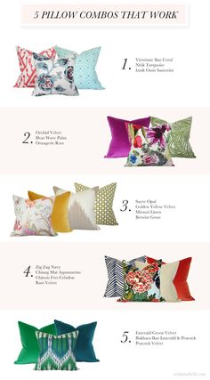 Pillow Combos That Work - colorful mix