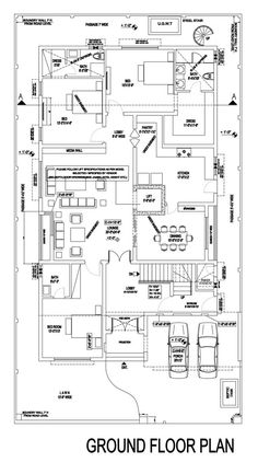 Contemporary House Design | By Monoline Architects – 1 Kanal House House Layout Plans, Family House Plans, Modern House Plans, House Layouts, Modern House Design, Ceiling Design Living Room, Home Room Design, Home Design Plans, Architectural House Plans