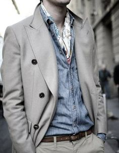 Formal jacket with jean button up shirt strange combination but trendy