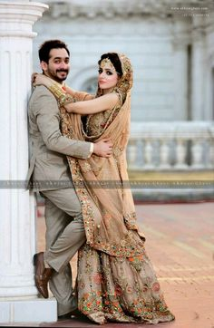 Skin Bridal Dress for Those Think beyond Red – Designers Outfits Collection Indian Wedding Poses, Indian Wedding Couple Photography, Bridal Photography, Pakistani Wedding Dresses, Photography Ideas, Couple Wedding Dress, Wedding Couple Photos, Wedding Couples, Bridal Poses