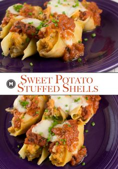 Sweet Potato Stuffed Shells - One of my favorite vegetarian stuffings for baked shells is a sweet potato mash. Add some cheese, tomato sauce, and chives and dinner is served!