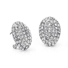 Neoglory Platinum Plated Rhinestone White Stud Clip on Earrings for Women by neoglory -- Awesome products selected by Anna Churchill