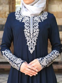 SHUKR Clothing's new special occasion gowns are are high quality and made with an attention to detail, which means they're perfect for Eid. Abaya Fashion, Muslim Fashion, Modest Fashion, Fashion Outfits, Muslim Evening Dresses, Hijab Evening Dress, Hijab Style, Dress Indian Style, Embroidery Suits
