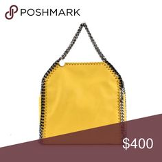 Stella McCartney yellow and gunmetal  SHOULDER BAG Used condition. Has some small stains and I can provide more pics for serious buyers. Comes with authenticity cards. 100% authentic Stella McCartney Bags Shoulder Bags