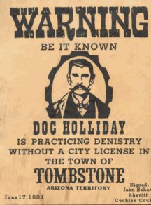 Reward for Doc Holiday. This is an authentic wanted sign, this were used to show the town who to look out for. The Wests most dangerous men would be displayed so the town could be cautious of who was wanted at the time. Not all signs were wanted signs, like this one, it's a warning sign just to worn the town of a potential criminal.