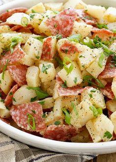 Italian Potato Salad with Salami (mayo-free recipe) - get the recipe at barefeetinthekitchen.com
