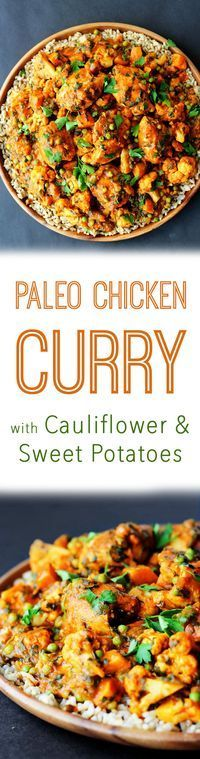 Paleo chicken curry with sweet potatoes, cauliflower, spinach and peas makes one of the best and easiest gluten free one pot meals.