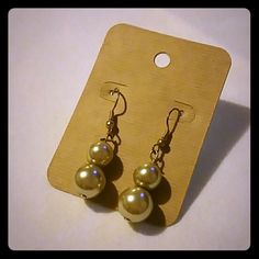 Earings Gold color pearl earings Jewelry Earrings