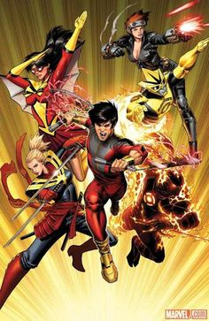 UNCANNY AVENGERS Spider Woman, Black Widow, Cannonball Ms Marvel, Shang-Chi, Sunspot