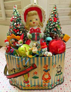 Vintage CUTE Tin with Vintage Christmas Delights by dimestorechic