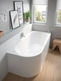 How to: Make a small bathroom feel larger - The Interiors Addict Apartment Interior, Bathroom Interior, Small Hall, Corner Bath, Paint Your House, Clawfoot Bathtub, Home Living Room, Cool Furniture, Sweet Home