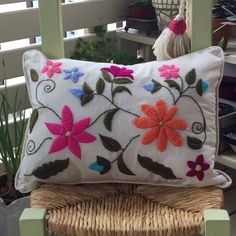 Red Pillows, Throw Pillows, Hand Embroidery Designs, At Home Store, Kit, Cushions, Canvas, Crochet, Flowers