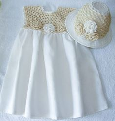 Linen crochet spring / summer dress and hat for the baby girl