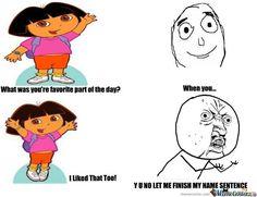 Haha Dora so stupid Dora Memes, Cartoon Memes, Funny Animal Memes, Funny Shit, Really Funny Memes, Stupid Memes, Funny School Jokes, Funny Jokes, Hilarious