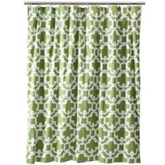 Green shower curtain from Target. http://homesweetharbor.blogspot.com