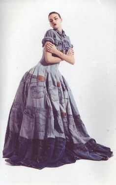 upcycle couture - gary harvey  Denim Dress, made from 41 pairs of Levi 501's. Jeans were originally made to be a long lasting workmen's uniform, since becoming a fashion garment they are discarded long before their use is over.