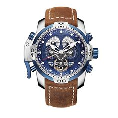 28c20e6f362 Reef Tiger Military Watches for Men Stainless Steel Blue ... Relojes