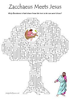 Zacchaeus Bible Maze - Sunday School Activity - Bible Worksheet