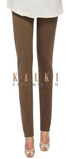 Buy Online from the link below. We ship worldwide (Free Shipping over US$100) Price- $19 Click Anywhere to Tag http://www.kalkifashion.com/brown-cotton-hosiery-legging-only-on-kalki-21440.html