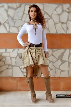 Steampunk  skirt  Brown ruffle  for by ClaudiaCandeiasArt on Etsy, €35.00
