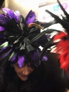 Black Cobalt Royal Blue Feather Halloween Flower Fascinator