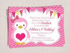 Valentine Girly Sweetheart Penguin Birthday Party Printable Invitation Digital File. $10.00, via Etsy.