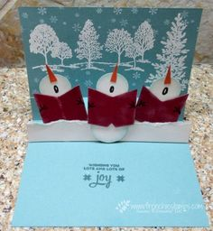Stamp & Scrap with Frenchie: Snowman Chorus Pop Up Card - Lovely As A Tree - Wonderland - Snow Place - Lots of Joy - Circle Punches