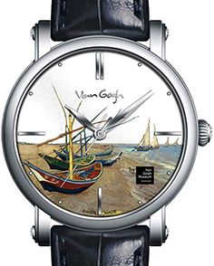 Van Gogh Men's Swiss Made Vintage Watch,Japanese Quartz Watertight Watch, Brown Leather Strap and Display Van Gogh Three-Dimensional Oil Painting -Fishing Boats Simple Watches, Cute Watches, Retro Watches, Cheap Watches, Casual Watches, Vintage Watches, Watches For Men, Women's Watches, Latest Women Watches